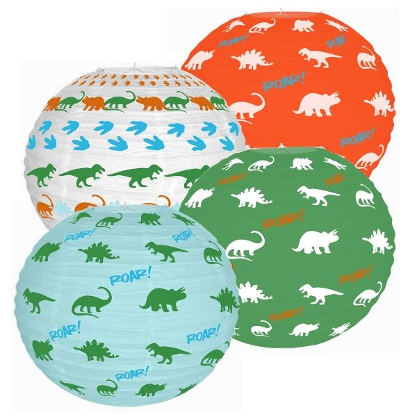 Dinosoaur 4pcs 12inch Paper Lantern Party Kit