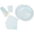 Disposable Party Tableware 44pcs Chevron Pattern Dining Set (Round Plates, Cups, Napkins) - Color: Baby Blue - Premier