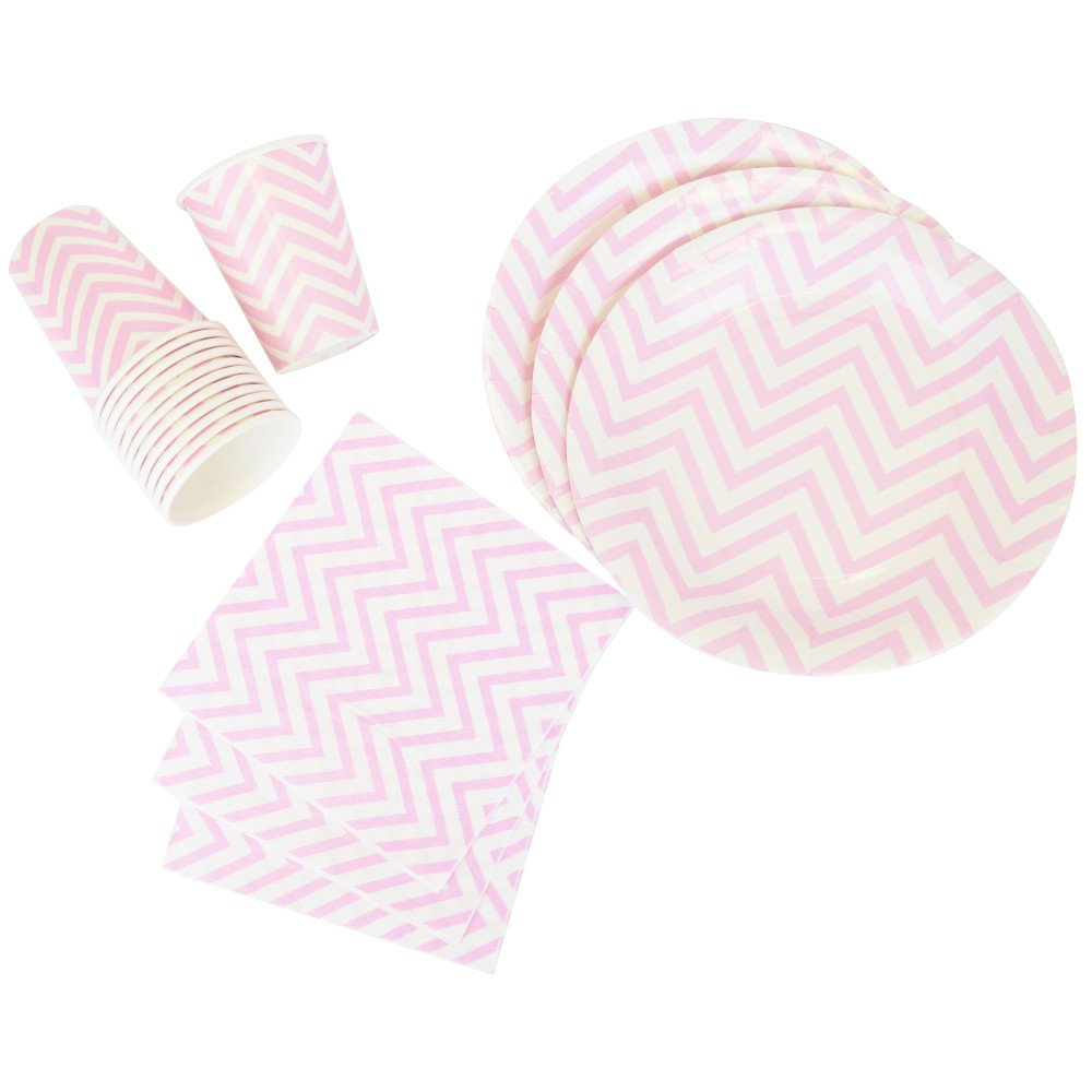 Disposable Party Tableware 44pcs Chevron Pattern Dining Set (Round Plates, Cups, Napkins) - Color: Baby Pink - Premier