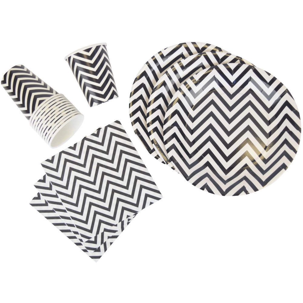 Disposable Party Tableware 44pcs Chevron Pattern Dining Set (Round Plates, Cups, Napkins) - Color: Black - Premier