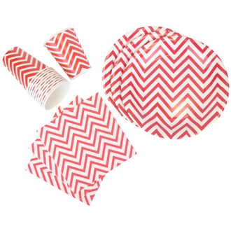 Disposable Party Tableware 44pcs Chevron Pattern Dining Set (Round Plates, Cups, Napkins) - Color: Red - Premier