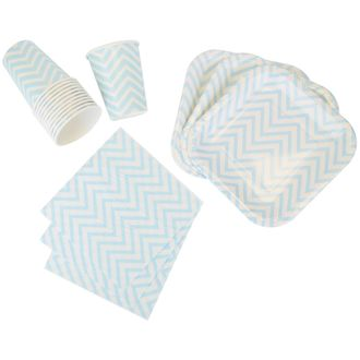 Disposable Party Tableware 44pcs Chevron Pattern Dining Set (Square Plates, Cups, Napkins) - Color: Baby Blue - Premier