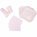 Disposable Party Tableware 44pcs Chevron Pattern Dining Set (Square Plates, Cups, Napkins) - Color: Baby Pink - Premier