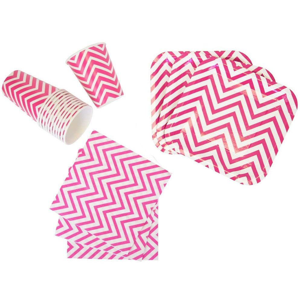 Disposable Party Tableware 44pcs Chevron Pattern Dining Set (Square Plates, Cups, Napkins) - Color: Fuchsia - Premier