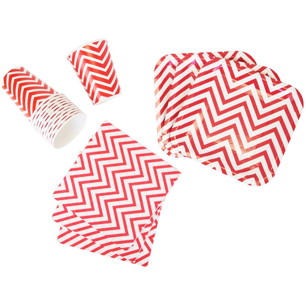 Disposable Party Tableware 44pcs Chevron Pattern Dining Set (Square Plates, Cups, Napkins) - Color: Red - Premier