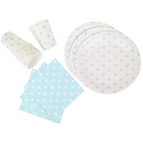 Disposable Party Tableware 44pcs Polka Dot Pattern Dining Set (Round Plates, Cups, Napkins) - Color: Baby Blue - Premier