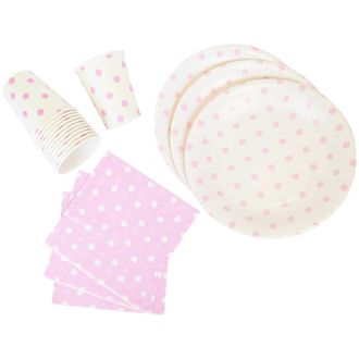Disposable Party Tableware 44pcs Polka Dot Pattern Dining Set (Round Plates, Cups, Napkins) - Color: Baby Pink - Premier