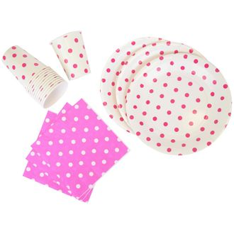 Disposable Party Tableware 44pcs Polka Dot Pattern Dining Set (Round Plates, Cups, Napkins) - Color: Fuchsia - Premier