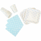 Disposable Party Tableware 44pcs Polka Dot Pattern Dining Set (Square Plates, Cups, Napkins) - Color: Baby Blue - Premier