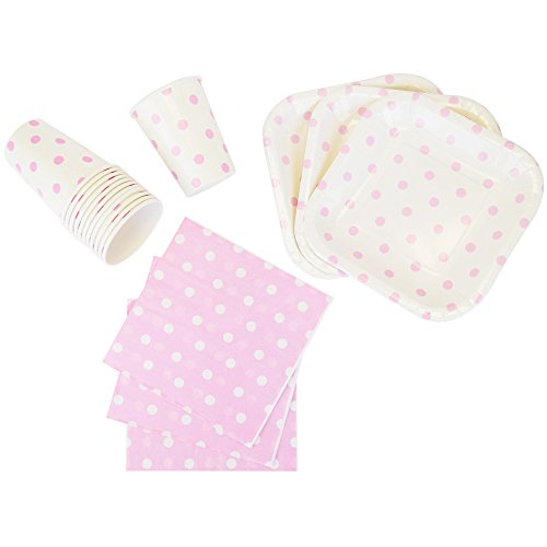 Disposable Party Tableware 44pcs Polka Dot Pattern Dining Set (Square Plates, Cups, Napkins) - Color: Baby Pink - Premier