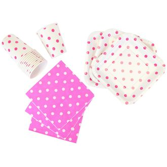 Disposable Party Tableware 44pcs Polka Dot Pattern Dining Set (Square Plates, Cups, Napkins) - Color: Fuchsia - Premier