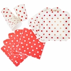 Disposable Party Tableware 44pcs Polka Dot Pattern Dining Set (Square Plates, Cups, Napkins) - Color: Red - Premier