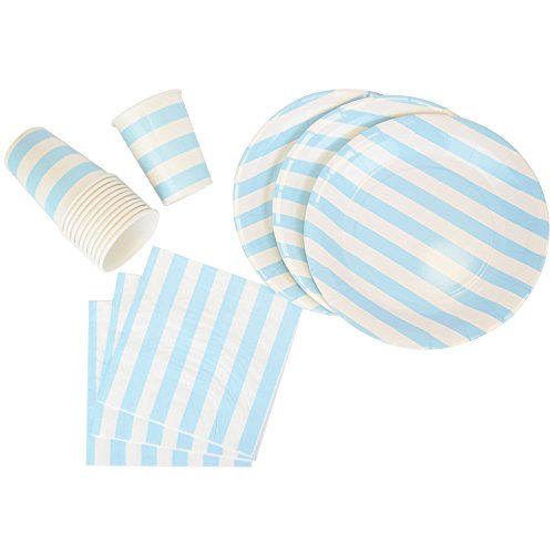 Disposable Party Tableware 44pcs Striped Pattern Dining Set (Round Plates, Cups, Napkins) - Color: Baby Blue - Premier