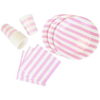 Disposable Party Tableware 44pcs Striped Pattern Dining Set (Round Plates, Cups, Napkins) - Color: Baby Pink - Premier