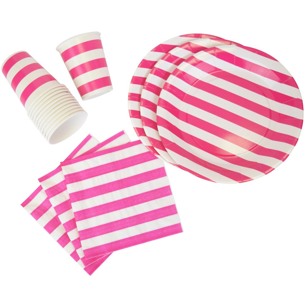 Disposable Party Tableware 44pcs Striped Pattern Dining Set (Round Plates, Cups, Napkins) - Color: Fuchsia - Premier