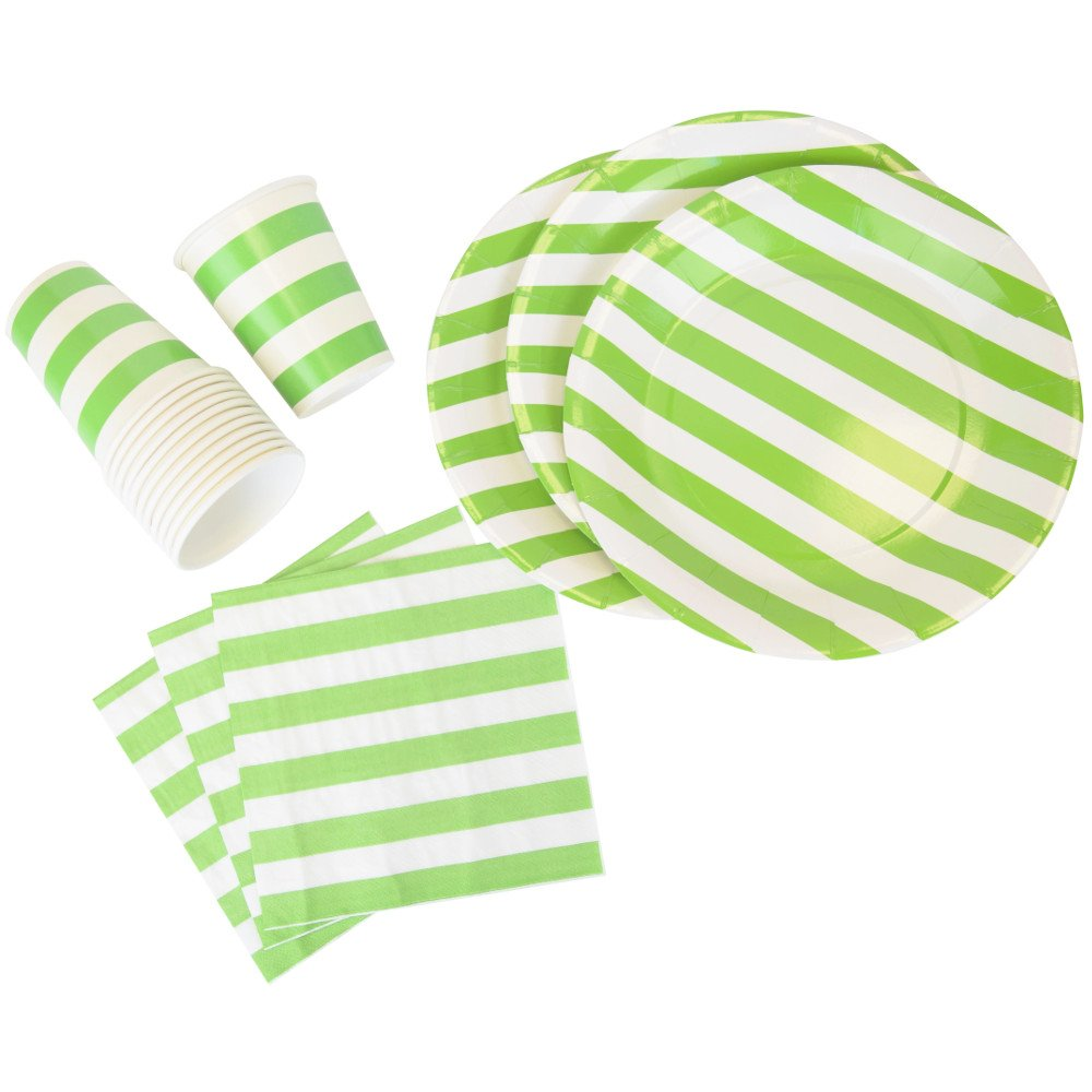 Disposable Party Tableware 44pcs Striped Pattern Dining Set (Round Plates, Cups, Napkins) - Color: Green Apple - Premier