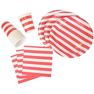 Disposable Party Tableware 44pcs Striped Pattern Dining Set (Round Plates, Cups, Napkins) - Color: Red - Premier
