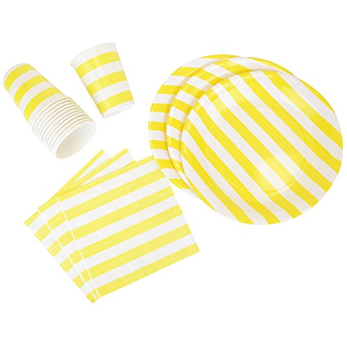 Disposable Party Tableware 44pcs Striped Pattern Dining Set (Round Plates, Cups, Napkins) - Color: Yellow - Premier