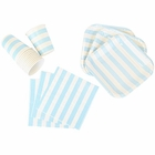 Disposable Party Tableware 44pcs Striped Pattern Dining Set (Square Plates, Cups, Napkins) - Color: Baby Blue - Premier