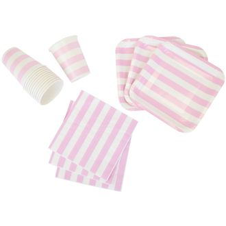 Disposable Party Tableware 44pcs Striped Pattern Dining Set (Square Plates, Cups, Napkins) - Color: Baby Pink - Premier