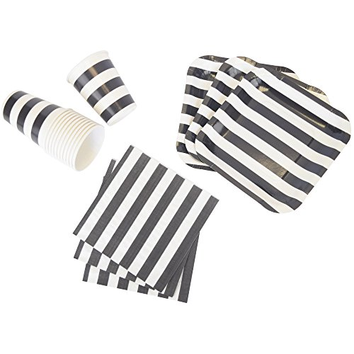 Disposable Party Tableware 44pcs Striped Pattern Dining Set (Square Plates, Cups, Napkins) - Color: Black - Premier