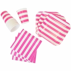 Disposable Party Tableware 44pcs Striped Pattern Dining Set (Square Plates, Cups, Napkins) - Color: Fuchsia - Premier