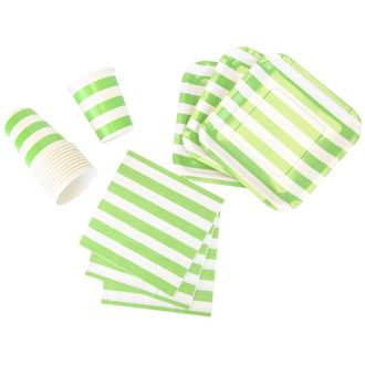 Disposable Party Tableware 44pcs Striped Pattern Dining Set (Square Plates, Cups, Napkins) - Color: Green Apple - Premier
