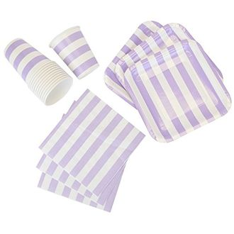 Disposable Party Tableware 44pcs Striped Pattern Dining Set (Square Plates, Cups, Napkins) - Color: Purple - Premier