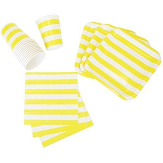 Disposable Party Tableware 44pcs Striped Pattern Dining Set (Square Plates, Cups, Napkins) - Color: Yellow - Premier
