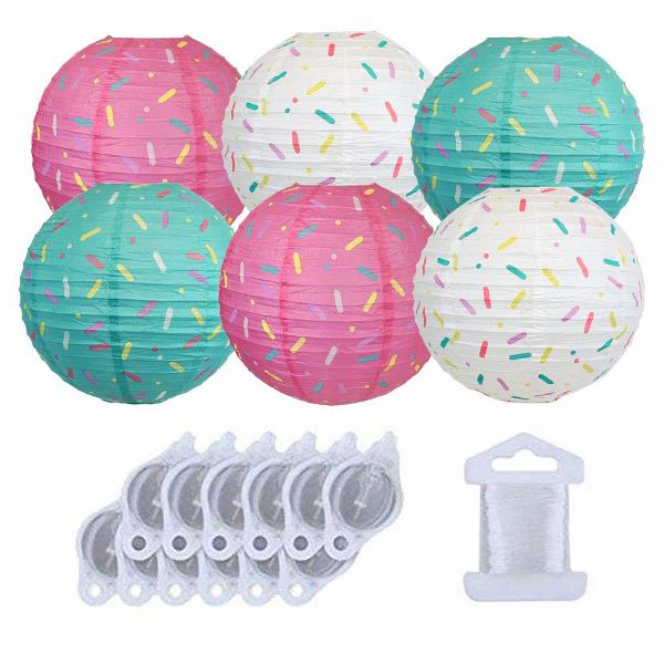 Donut Party 12inch Sprinkle Paper Lanterns 6pcs w/ 12pcs LED Lights and Clear String - Premier