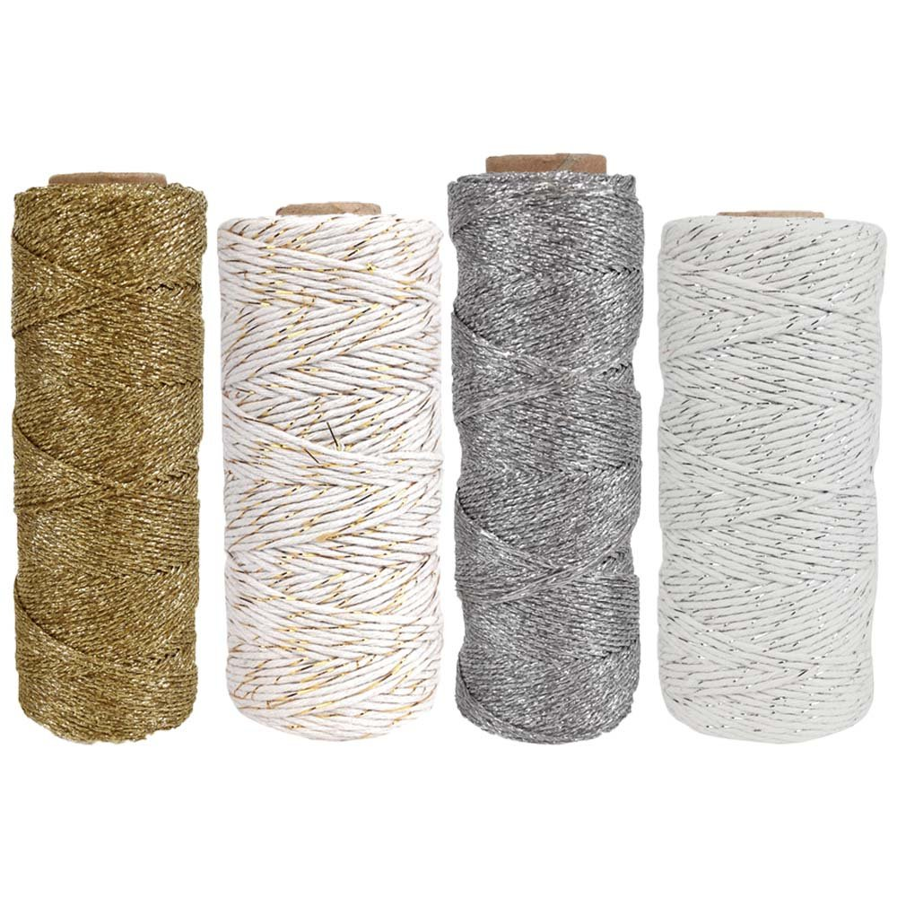 ECO Bakers Metallic Twine Silver Gold Solid & Striped Assortment (11ply 55yd 110yd) - Premier
