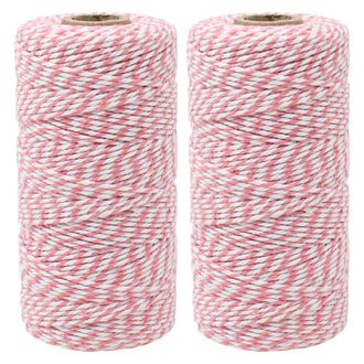 ECO Bakers Twine 110yd 12Ply Striped Bubblegum Pink (2-Pack) - Premier