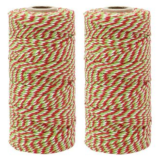 ECO Bakers Twine 110yd 12Ply Striped Cherry Green Apple Twist (2-Pack) - Premier