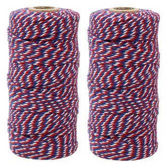 ECO Bakers Twine 110yd 12Ply Striped Cherry Navy Twist (2-Pack) - Premier