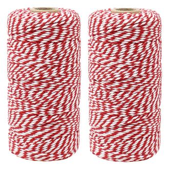 ECO Bakers Twine 110yd 12Ply Striped Cherry Red (2-Pack) - Premier