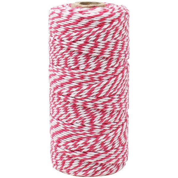 ECO Bakers Twine 110yd 12Ply Striped Fuchsia