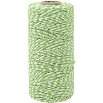 ECO Bakers Twine 110yd 12Ply Striped Green Apple