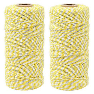 ECO Bakers Twine 110yd 12Ply Striped Lemon Yellow (2-Pack) - Premier