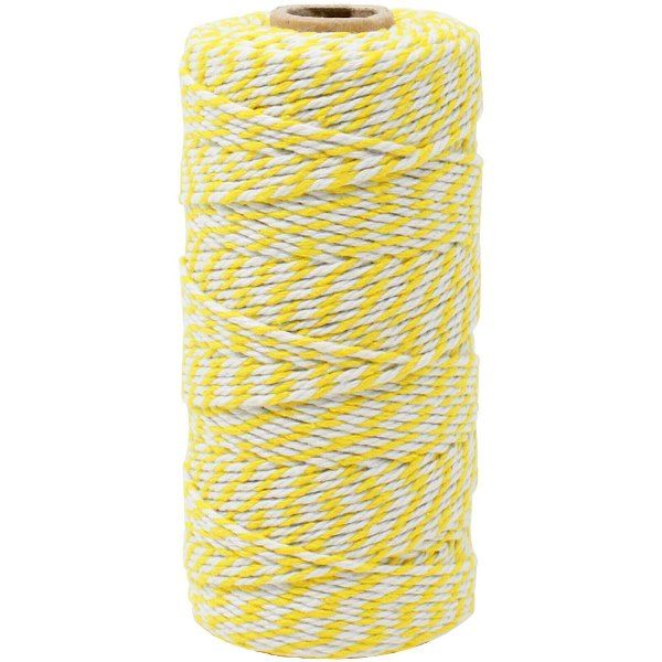 ECO Bakers Twine 110yd 12Ply Striped Lemon Yellow