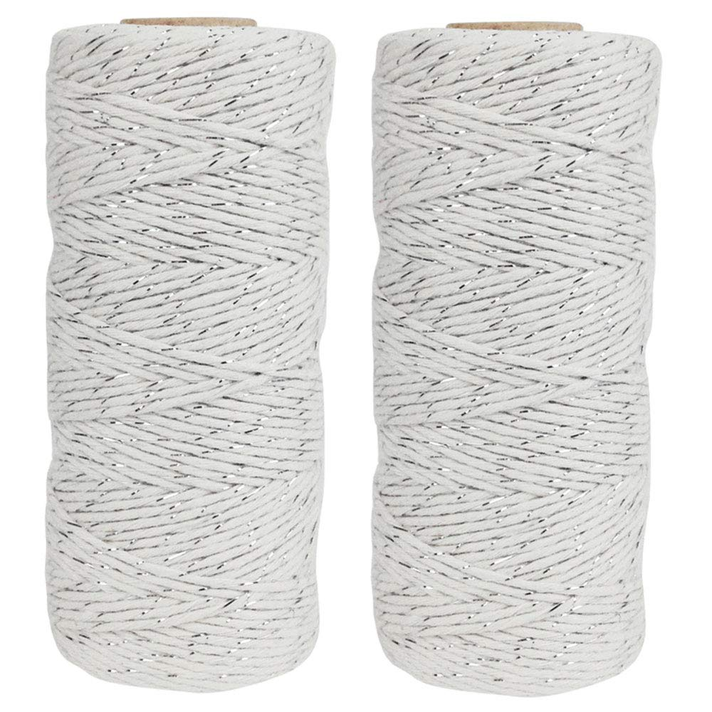 ECO Bakers Twine 110yd 12Ply Striped Metallic Silver (2-Pack) - Premier