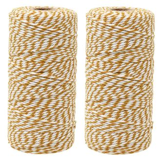 ECO Bakers Twine 110yd 12Ply Striped Mustard Yellow (2-Pack) - Premier