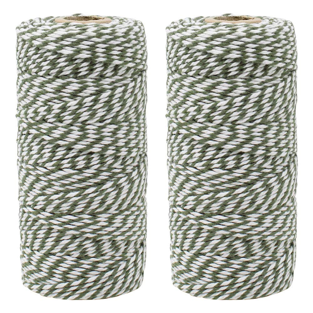 ECO Bakers Twine 110yd 12Ply Striped Olive (2-Pack) - Premier