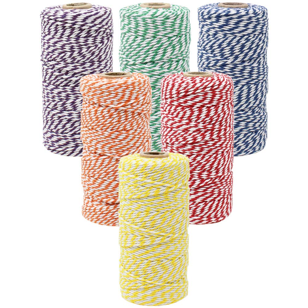 Eco Bakers Twine 110yd 12ply Striped Rainbow Assorted (6pcs) - Premier