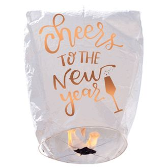 ECO Wire-Free Eclipse Sky Lantern Cheers to the New Year Gold