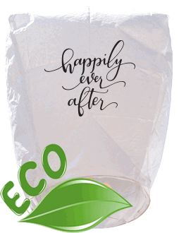 ECO Wire-Free Eclipse White Happily Ever After Wedding Sky Lantern
