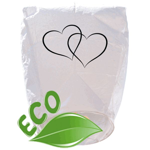 ECO Wire-Free Eclipse White Hearts Wedding Sky Lantern