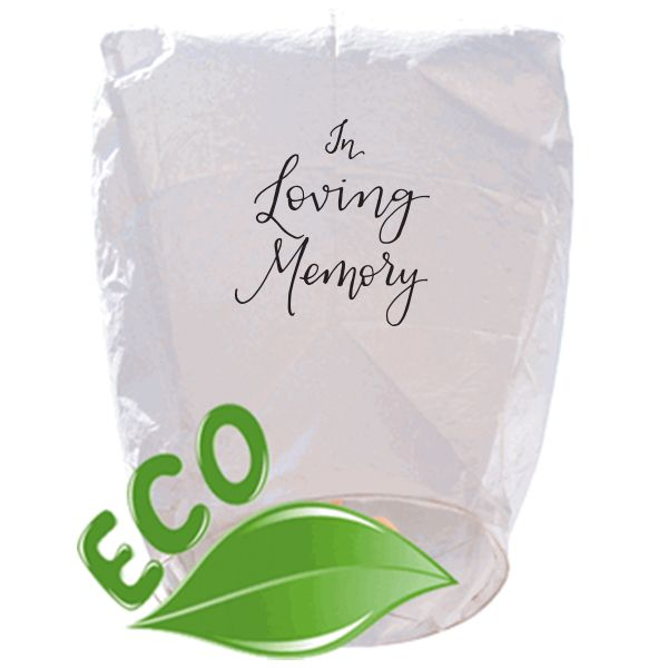 ECO Wire-Free Eclipse White In Loving Memory Memorial Sky Lantern