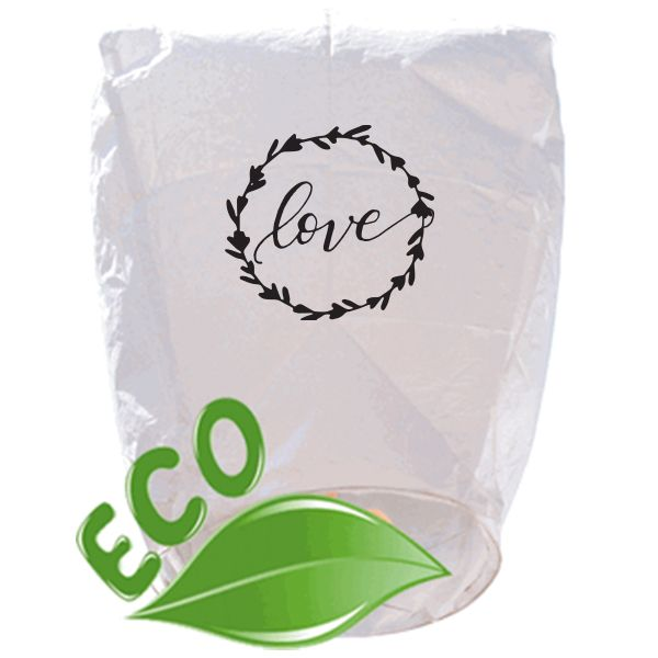 ECO Wire-Free Eclipse White Love Wreath Wedding Sky Lantern