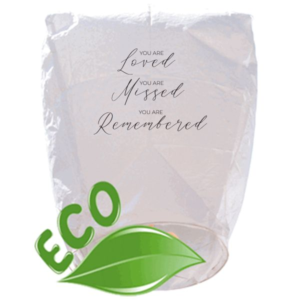 ECO Wire-Free Eclipse White Loved Missed Remembered Memorial Sky Lantern