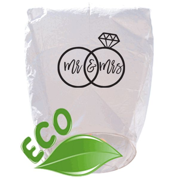 ECO Wire-Free Eclipse White Mr and Mrs Rings Wedding Sky Lantern
